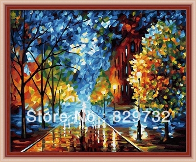 JIUJIU DIY digital oil painting Free shipping home decoration unique gift picture canvas 40X50cm The night felt paint by number