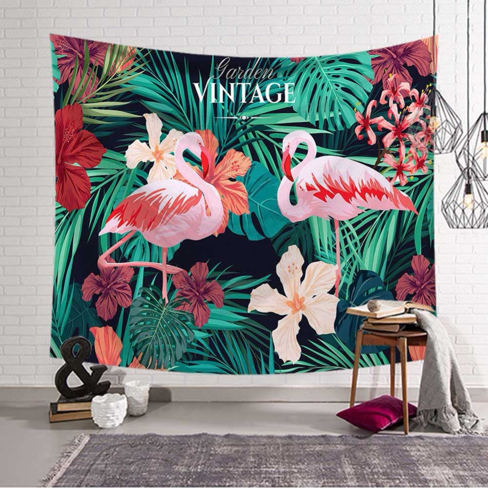 Tropical Leaves Flamingo Pattern Tapestry Wall Art Hanging Decorative Wedding Party Gift Bedspread Beach Towel Yoga Picnic Mat