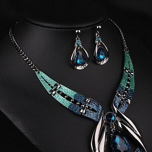 Colgante de cadena para mujer, Gargantilla, collar con pechera, pendientes, conjunto de joyería para mujer, boda 2020 5