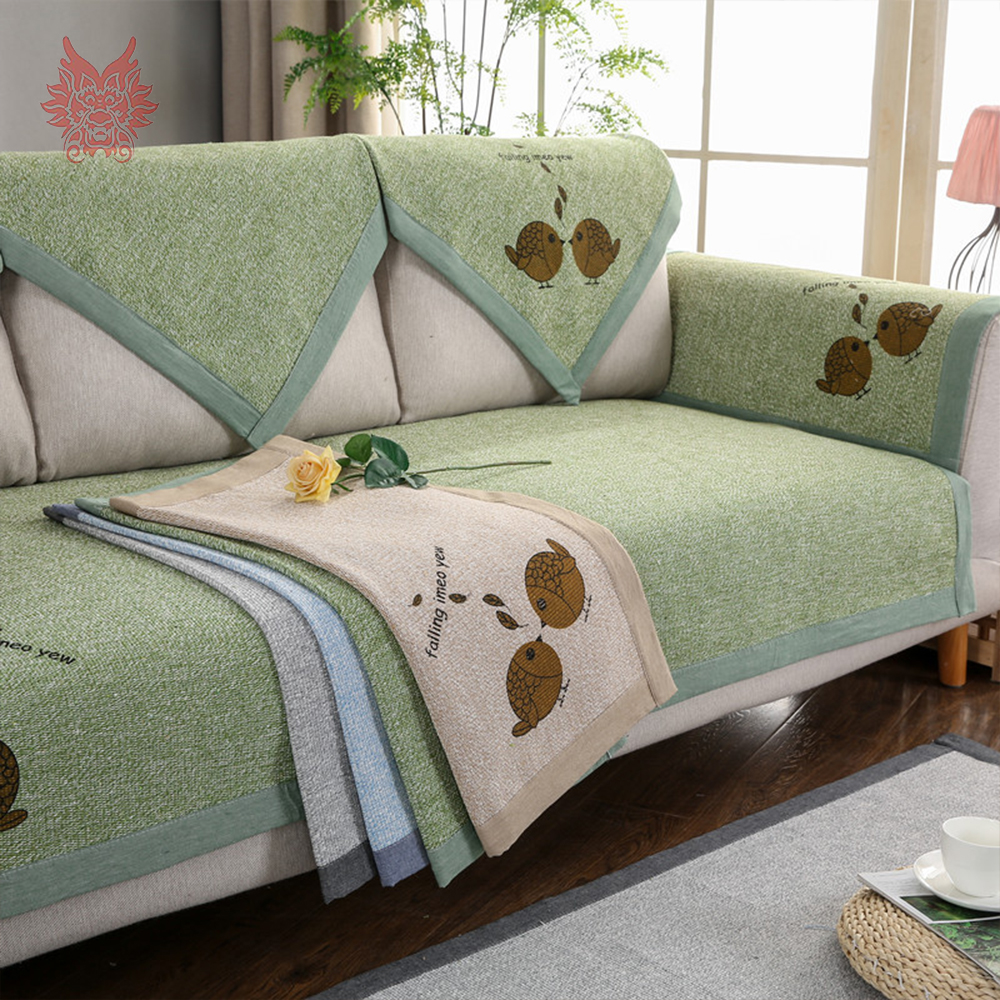 lovely blue green living room | Lovely cartoon printed green blue cotton weaving sectional ...