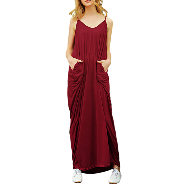 2018 Summer Long Dress Ladies Hippie Spaghetti Strap Pockets Floor Lenght Beach Dress Robe Femme Sexy Vestidos Largos De Verano