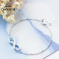 Infinite Bracelet Knot 925 Sterling Silver Women Bracelet Chain Adjustable Size Bangle Friendship Bracelets For Women