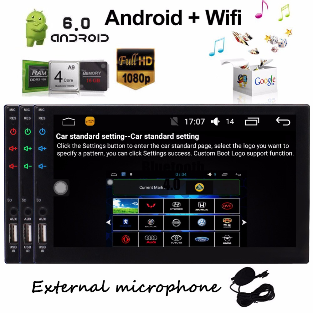 где купить EinCar Android 6.0 Head Unit 2Din Car Stereo GPS Navigation 7 inch WiFi Radio Bluetooth HD Capacitive Touch screen Video Player дешево