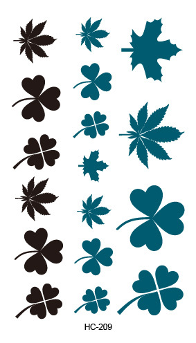 HC-209 Body Art Sex Products Black White Blue Clover Leaves Water Transfer Temporary Fast Flash Fake Tattoos Sticker Taty