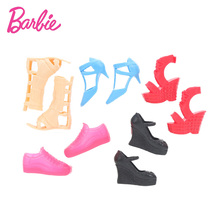 Barbie Toys Fashion Barbie Doll Shoes Accessories 10pcs/5pairs per Set High Heels Crystal Shoes Flat Shoes for Barbie Dolls Toy