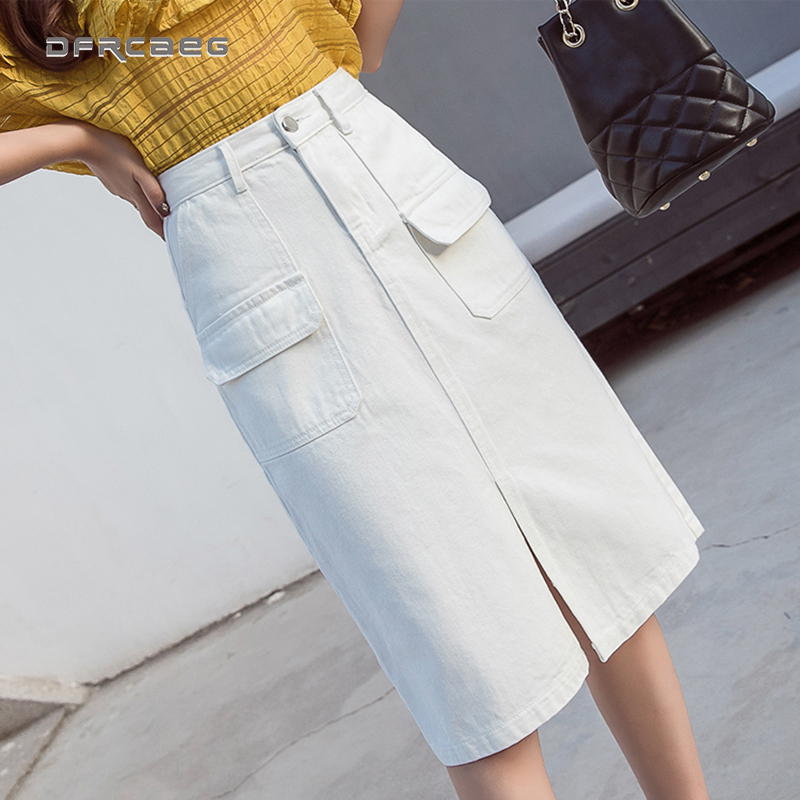 Summer 2019 Women Demin Skirts  Office Lady Style  Hip Women Clothes White Korean Style Women Midi Jeans Skirt Femme