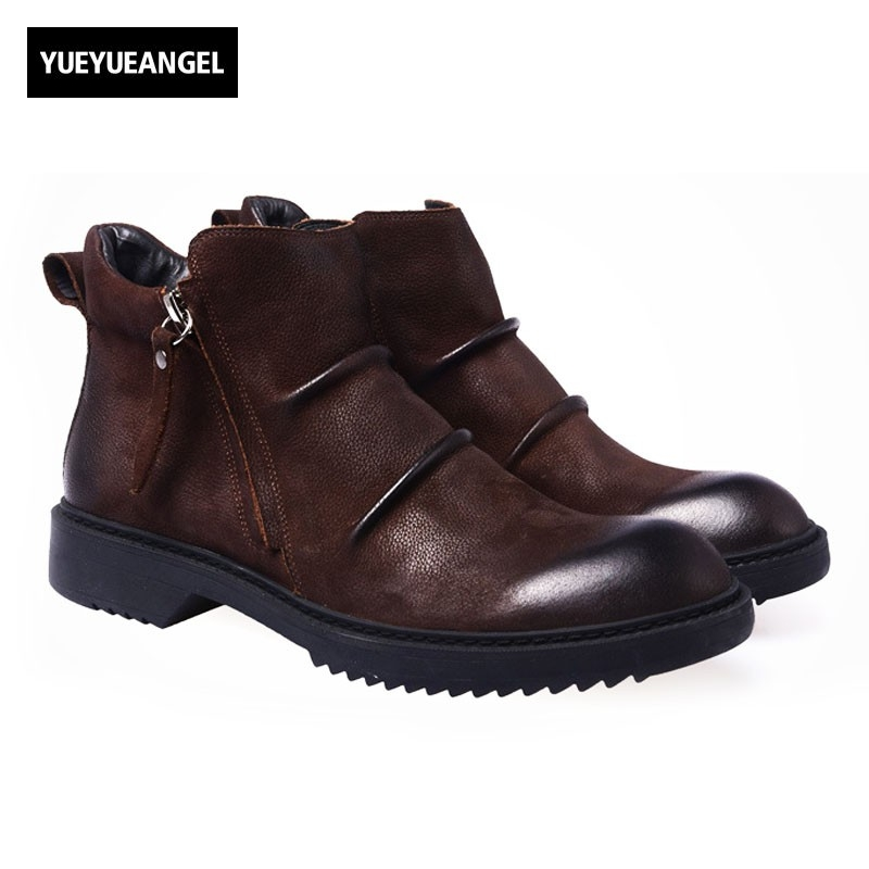 Winter New Fashion Side Zipper Shoes Genuine Leather Round Toe Ankle Boots Men High Quality Brand Male Footwear Retro Army Boots