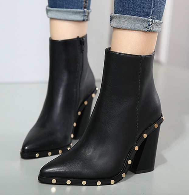 bd0f89cea European Style Contracted Tide Girl Boots Woman British Style Rivet Boots  Martin Boots Autumn Winter 2019 New High-heeled Shoes