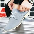 2017 Sping Del Otoño de Los Hombres de Ocio de la Marca de Lujo Zapatos Planos Casual Flock Suede zapatos Oxford Zapatos de Los Hombres de Los Holgazanes zapatos de Moda hombre