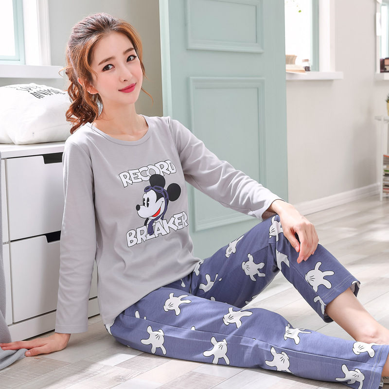 New Listing 2019 Autumn Winter Pyjamas Women Carton Cute Pijama Pattern Pajamas Set Thick Pijamas Mujer Sleepwear 90S Wholesale