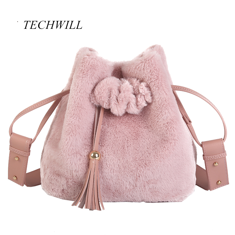 2017 New Vintage Faux Rabbit Fur Women Bucket Women Messenger Bags Shoulder Cross Chain Bucket Bag Winter Soft Lady Handbag