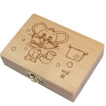 Krabička ze dřeva na uchování dětských zubů – s obrázkem myši