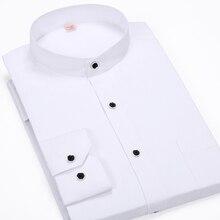 Модные воротник-стойка мужские деловые повседневные Длинные рукава Рубашка в полоску CHEMISE Homme мужская рубашка Camisa masculina