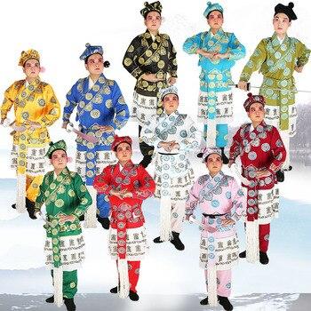 Satin silk mandarin Jacket + Pants + Hat Peking Opera men's drama costumes wusheng clothes Operas Kungfu Fighter men's clothing