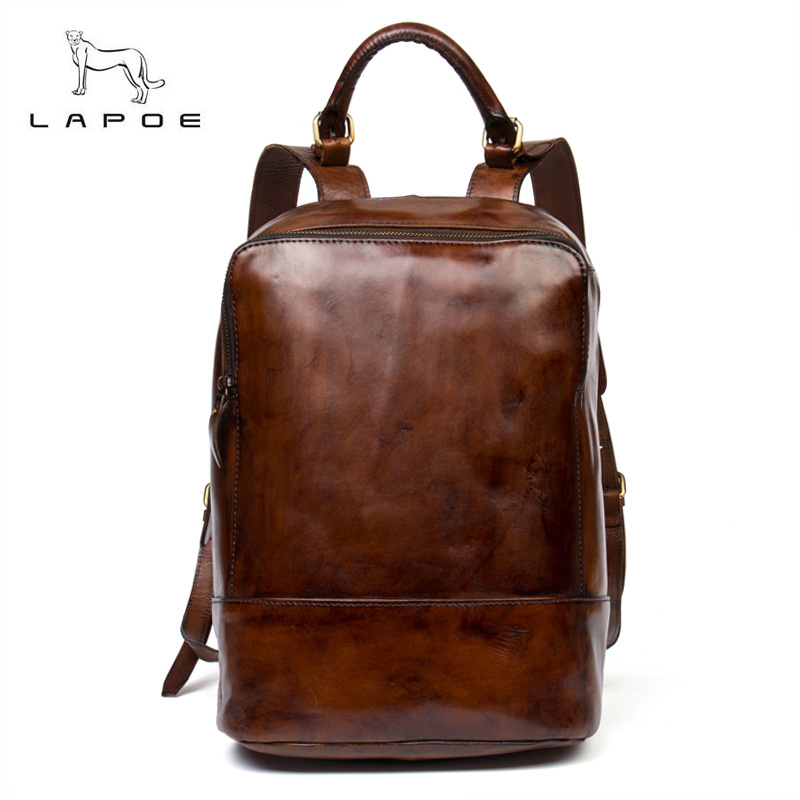 LAPOE Brand genuine leather men crazy horse backpack Daypack man purse retro bag travel bag of large capacity of vintage weekend men genuine leather high capacity backpack travel bag crazy horse leather famous brand fashion 14 inch notebook bag j50