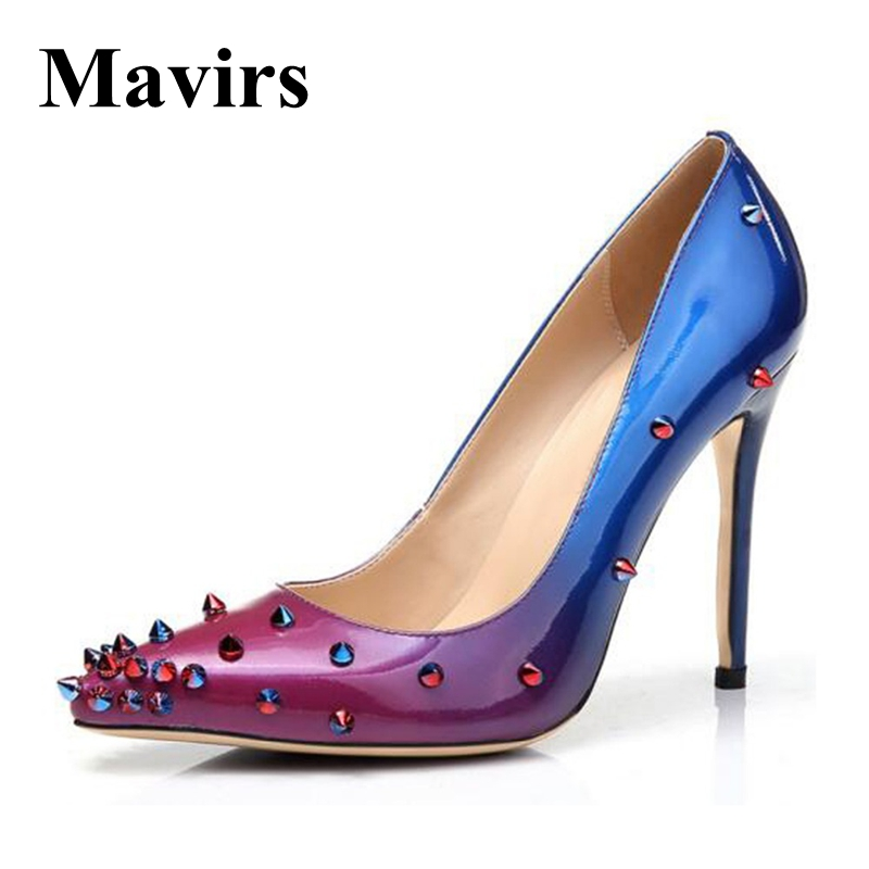 Mavirs Brand Women Shoes 2018 Spring Pointed Toe Sexy 12CM Extreme High Heels Blue Gradient Rivet Wedding Shoes US Size 5-15 mavirs brand women ankle boots 2018 pointed toe matt 4 75 inches chunky high heels black gray gold white shoes us size 5 15