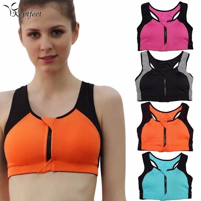 df0cffc43e16 Front Zipper Sport Bras Women Fitness Crop Top Yoga Bras Running Underwear  Gym Top Vest High Shockproof Push Up Padded Bra