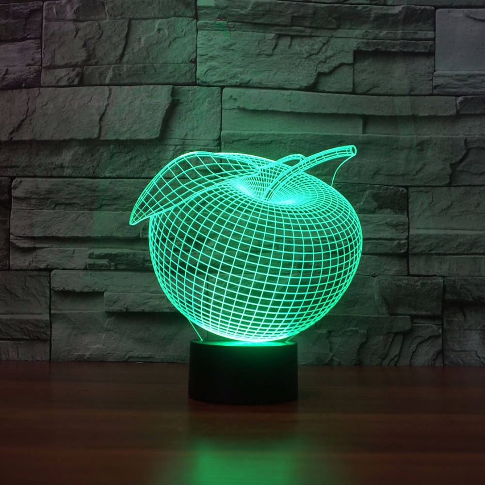USB Bedroom Decor Novelty Apple Shape Table Lamp 3D Night Light 7 Colors Changing Mood LED Baby Sleep Lighting Xmas Kids Gifts