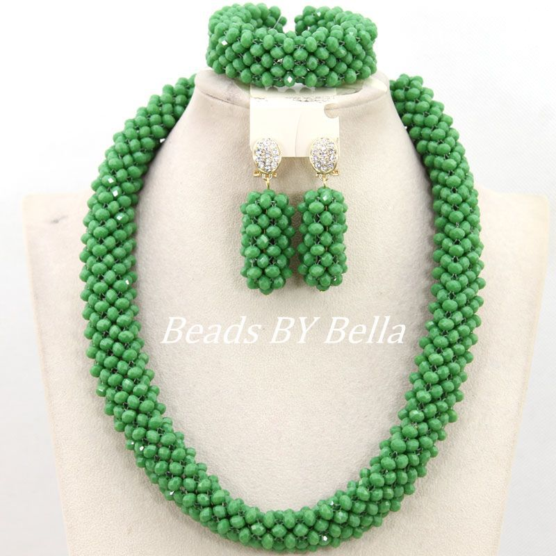 Nigerian Green Crystal Beads Wedding Bridal Jewelry African Beads Jewelry Set Women Costume Necklace Set Free Shipping ABY904 цена
