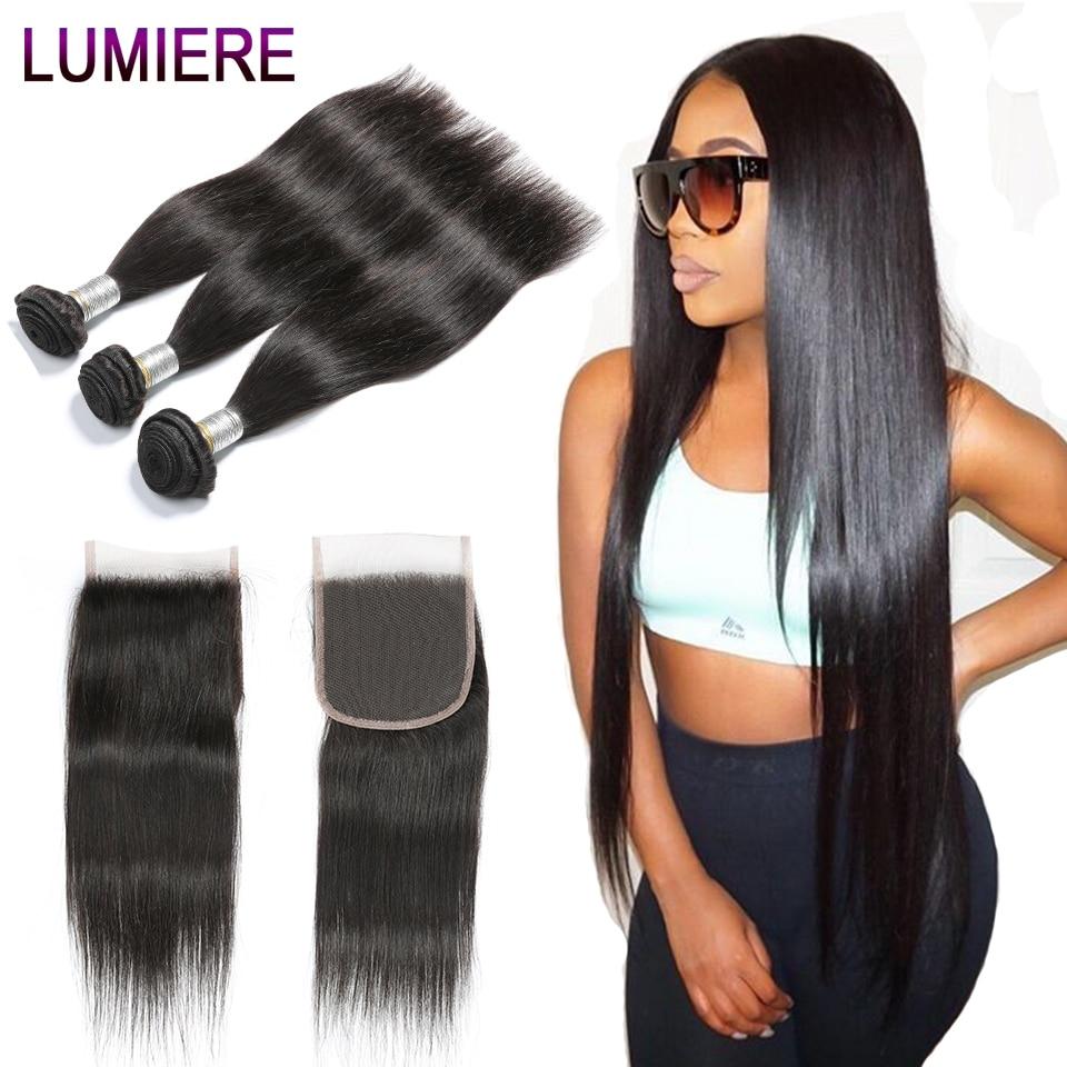 Hot Sale Lumiere Hair Brazilian Hair Weave Bundles With Lace Closure