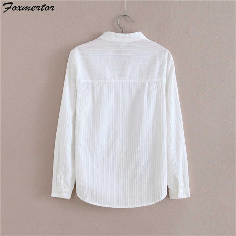 Foxmertor 100% Camicia di Cotone di Alta Qualità Camicetta Delle Donne di Autunno Del Manicotto Lungo Solido Bianco Camicette Sottile Femminile casual Signore Magliette e camicette #05