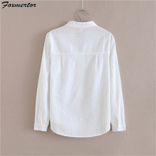 Foxmertor 100% Cotton Shirt High Quality Women Blouse Autumn Long Sleeve Solid White Shirts Slim Female Casual Ladies Tops #05