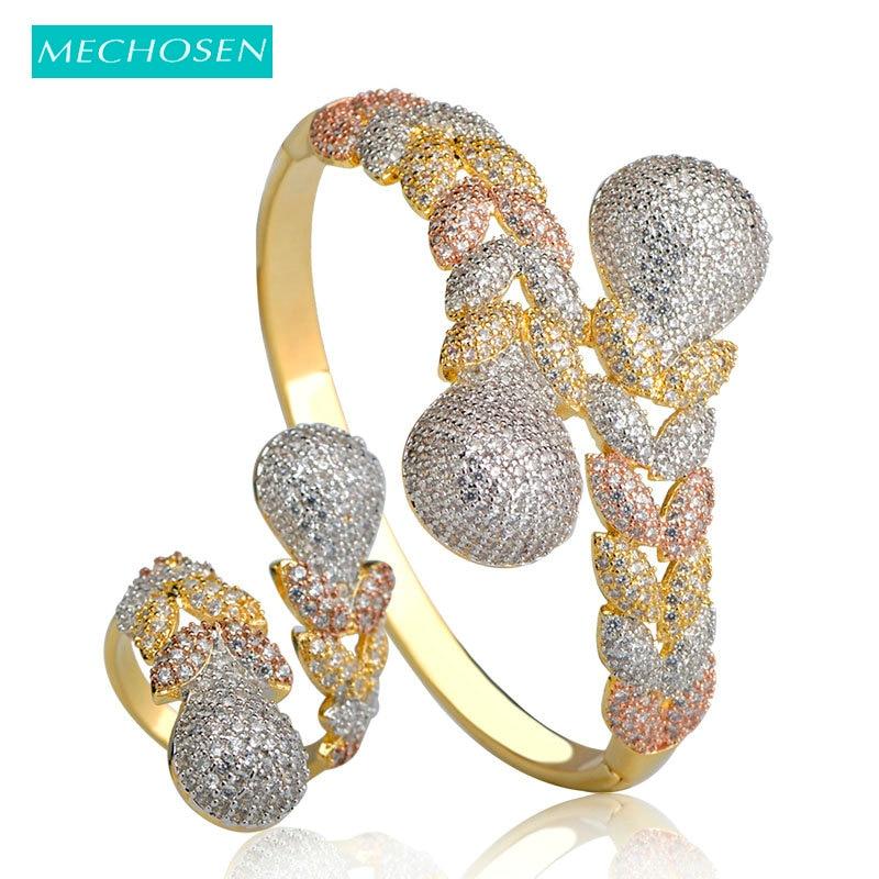 MECHOSEN Fashion Dubai Jewelry Sets Gold Color Cubic Zirconia Leaves Bangle Adjustable Ring Set Women Lady Hand Decoration Joyas