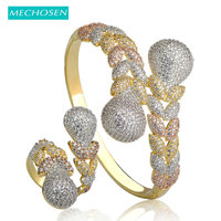 MECHOSEN Fashion Dubai Jewelry Sets Gold Color Cubic Zirconia Leaves Bangle Adjustable Ring Set Women Lady Hand Decoration Joyas