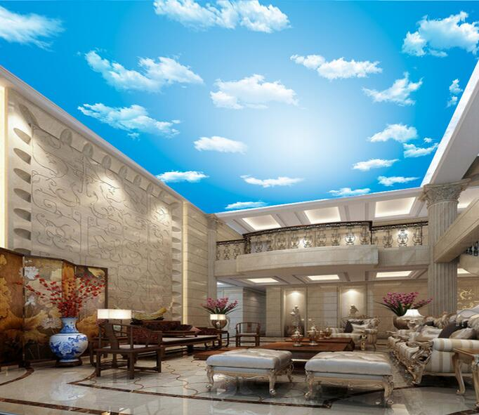 Original high-definition blue sky and white clouds ceiling zenith large mural wallpaper living room bedroom wallpaper painting high definition sky blue sky ceiling murals landscape wallpaper living room bedroom 3d wallpaper for ceiling
