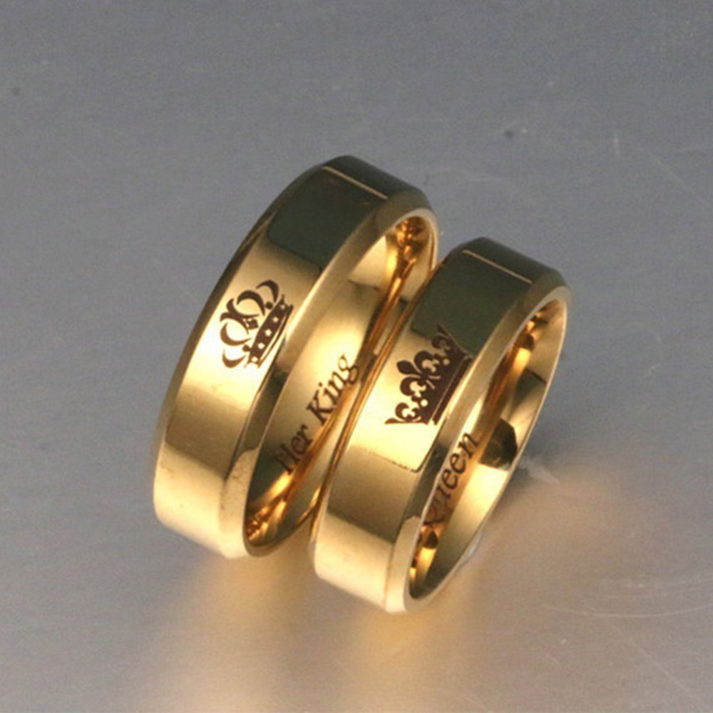6mm Men S Gold Ring Couples Crown Ring Her King His Queen Rings For