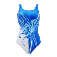 Floral Printing Women Swimwear Sports Competition One Piece Swimsuit High Cut Female Swimming Bathing Suit