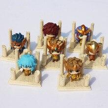 1 set 7pcs set 4cm Saint Seiya Q version the Gold Saint Figure Toys ornaments 12