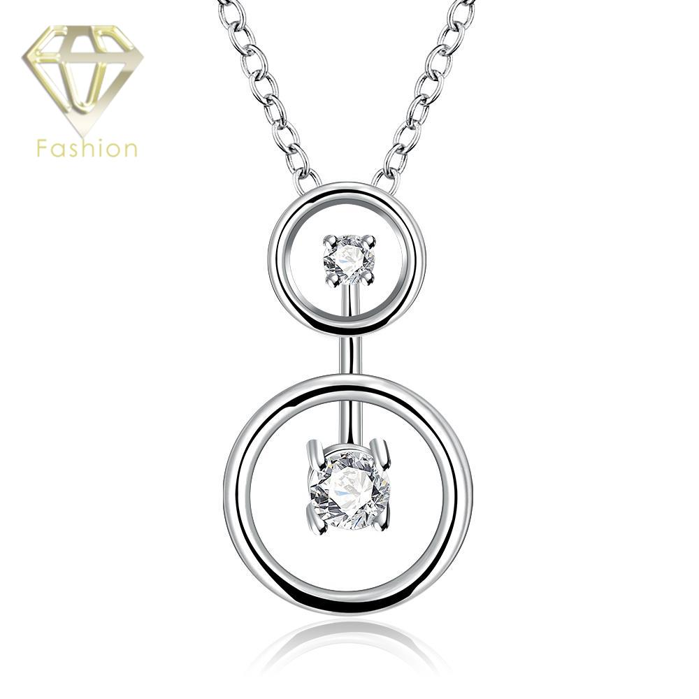 Necklace Designs Brand New Silver Plated Double Round Pendant Zircon Crystal Necklaes Fashion Popular Chain Jewelry for Women