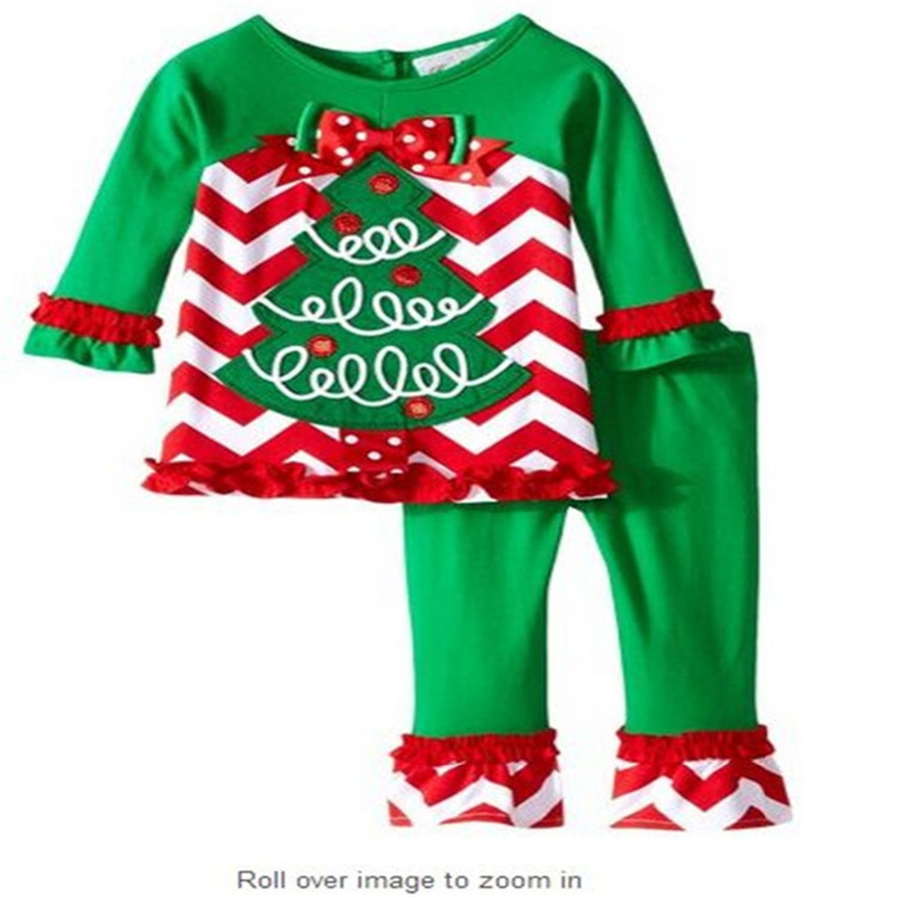 T shirt Children Clothing With Long Sleeve Girls Clothes Christmas Green Tree Outfit Solid Color Green for Kids Clothes Sets 2pcs children outfit clothes kids baby girl off shoulder cotton ruffled sleeve tops striped t shirt blue denim jeans sunsuit set