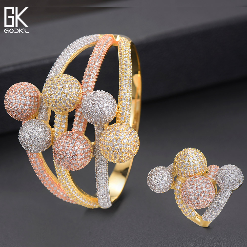 GODKI Luxury 3 Tone Ball Winding African Nigerian Bangle Ring Sets Indian Jewelry Set For Women
