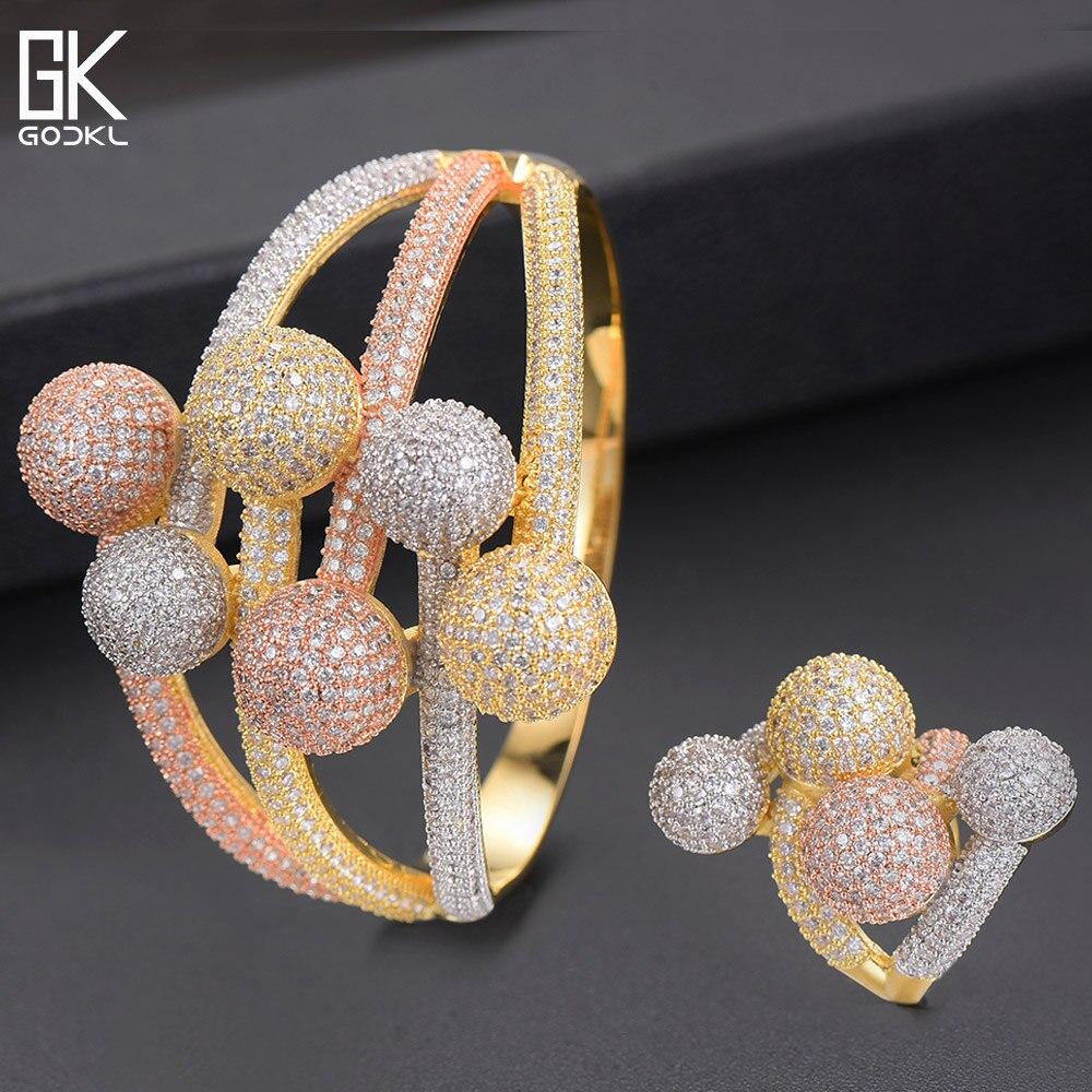 GODKI luxe 3 tons balle enroulement africain nigérian bracelet bague ensembles indien bijoux ensemble pour les femmes de mariage brincos para as mulheres-in Parures de bijoux from Bijoux et Accessoires    1