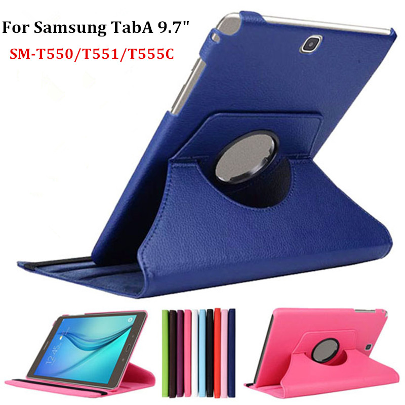 Factory Sale 360 Rotating PU Leather Stand Case Cover For Samsung Galaxy Tab A 9.7 SM-T550/T551/T555C Tablet Case