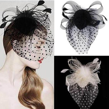 Newest style hot sale Party Fascinator Hair Accessory Feather Clip Hat Flower for Lady hazy Veil Wed