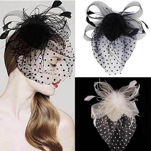 Nuevo estilo de Venta caliente fiesta Fascinator accesorio para el cabello pluma Clip sombrero flor señora velo decoración de boda