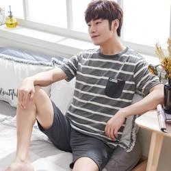 Повседневное полосатый хлопок пижамы для девочек для мужчин лето 2019 г. короткий рукав пижамы мужской Мужская пижама Домашняя одежда Lounge