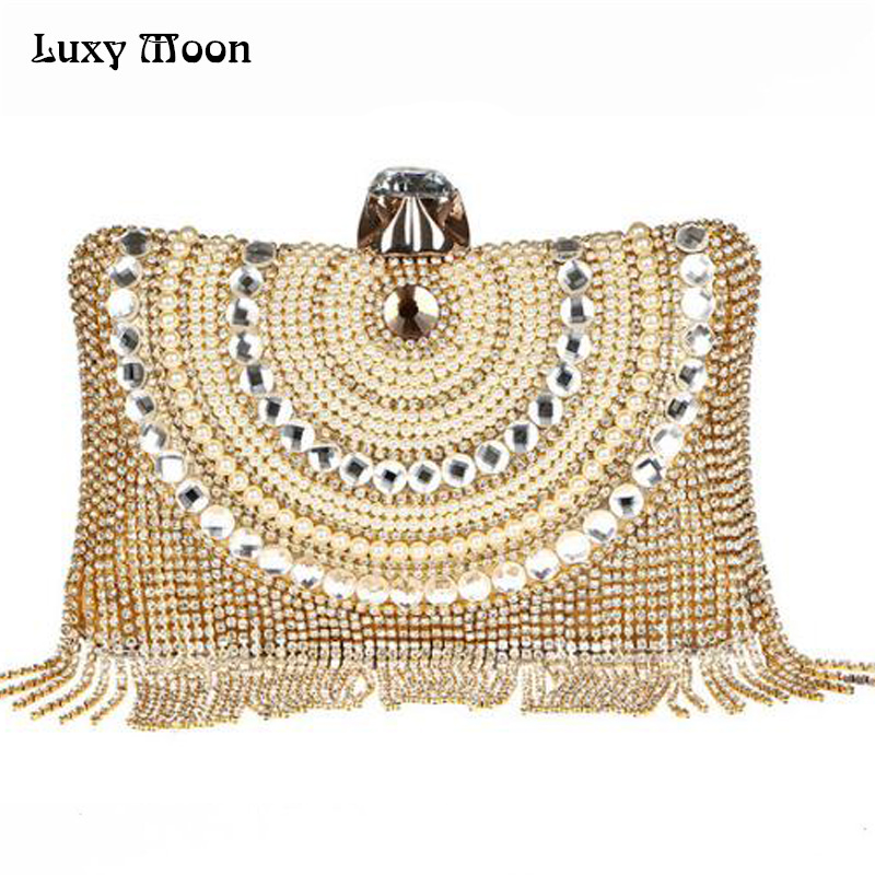 2018 New Fashion Women Gold Tassels Evening Bags Luxury Diamond Clutch Bags Banquet Clutch Purse Party Handbag For Ladies w651 skinbox 4people silicone chrome border чехол для samsung galaxy a3 2017 dark silver