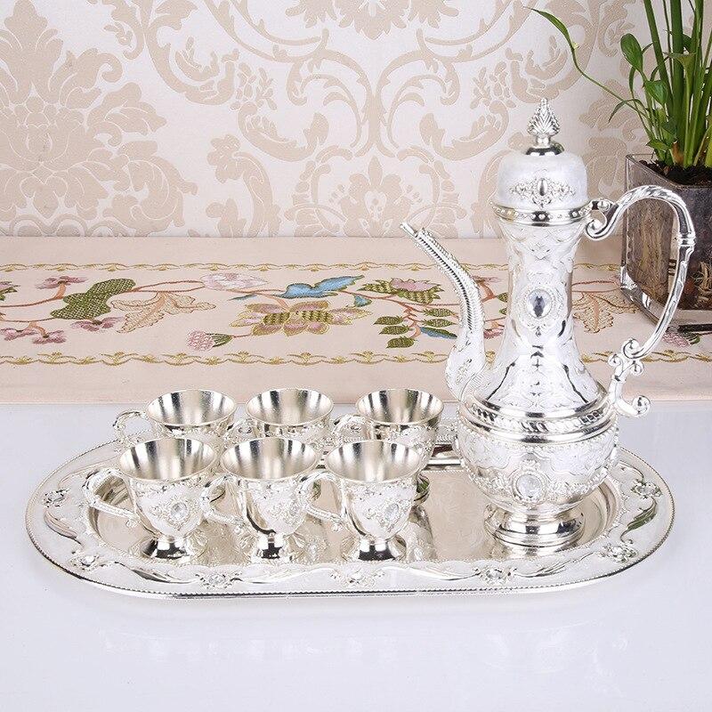 Metal Crafts Coffee Set Wine Set European Tea Sets Creative Hotel/ Home Room Table Decoration 1 set= 1 plate+ 1 pot +6 cups - 3