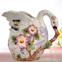 Europe ceramic creative swan flowers vase pot home decor crafts room decoration objects wedding gifts porcelain figurines