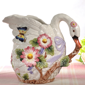 Europe ceramic creative swan flowers vase pot home decor crafts room decoration objects wedding vase gifts porcelain figurines