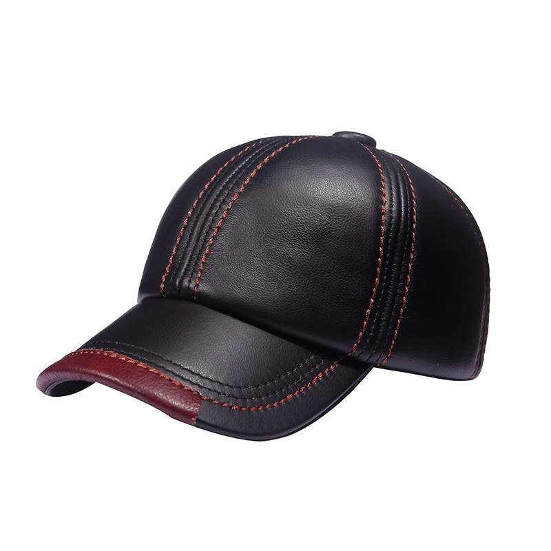 2017 Gift New Cowhide Leather Baseball Caps Middle age Mens Snapbacks Solid Color Ear Flap Patchwork Dad Cap for Men Hat 35colors silver gold soild india scarf cap warmer ear caps yoga hedging headwrap men and women beanies multicolor fold hat 1pc