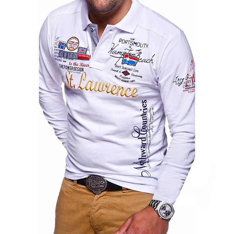 ZOGAA Casual   Polo   Shirt Men Long Sleeve Cotton Polyester Slim Fit Regular Full Sleeve Warm Breathable Imitation Embroidery