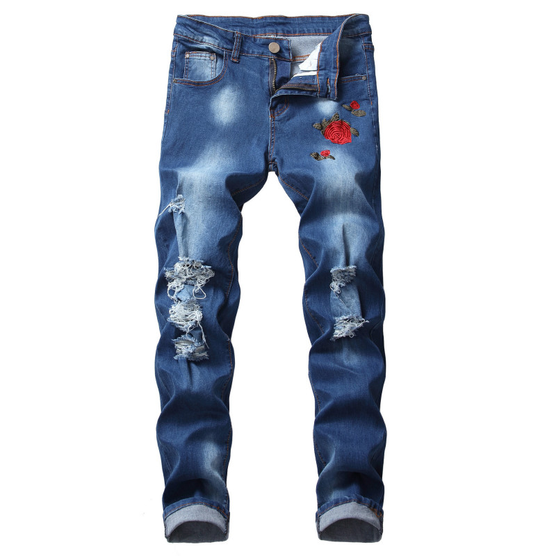 Ripped Jeans for Men Embroidery Straight Casual Flowers Denim Men's Fashion Jeans Embroidery Mens Blue Jeans Full Length