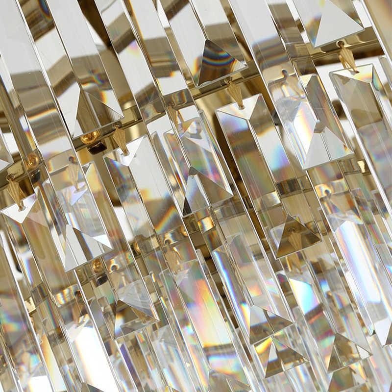 Современные светодиодный хрустальные люстры роскошные Cristal подвесной светильник золотой отделкой для жизни украшение для столовой