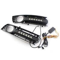 2PCS Fog Light Grill Front Bumper Center Lower Grille Turn signal Light kit For Audi A4 B6 01 05