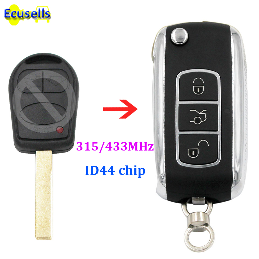 Upgraded Flip 3 Buttons Remote Key Fob 315mhz 433MHz ID44 PCF7935 Chip For Land Rover Range Rover Sport 2002-2006 Uncut HU92